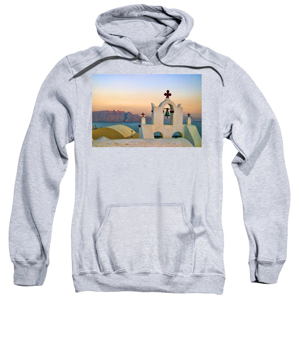 Blue Sweatshirt featuring the photograph Oia In Santorini by David Smith