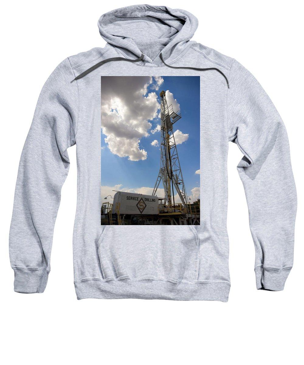 America Sweatshirt featuring the photograph Oil Derrick I by Ricky Barnard
