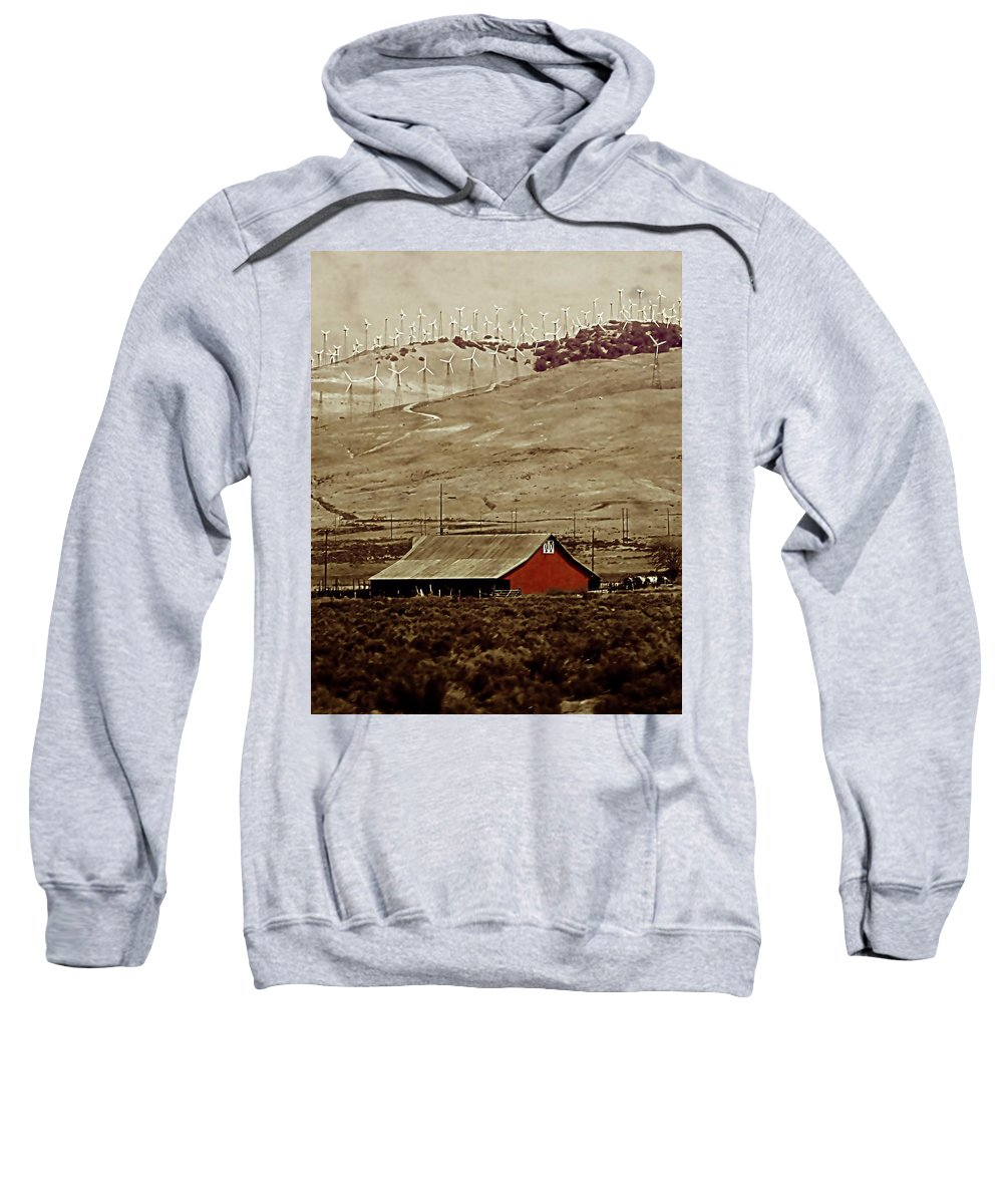 Barn Sweatshirt featuring the photograph Old And New by Ellen Heaverlo