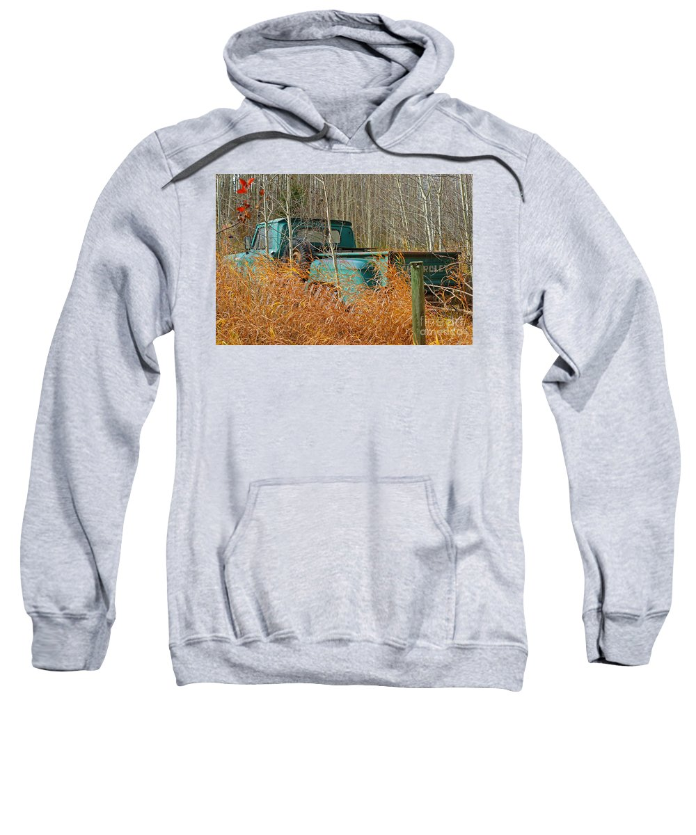 Old Truck Sweatshirt featuring the photograph Old Chevy In The Field by Randy Harris