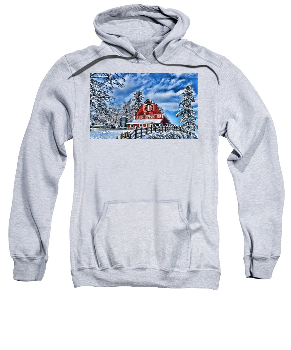 Old Barns Sweatshirt featuring the photograph Old Red Barn Hdr by Randy Harris