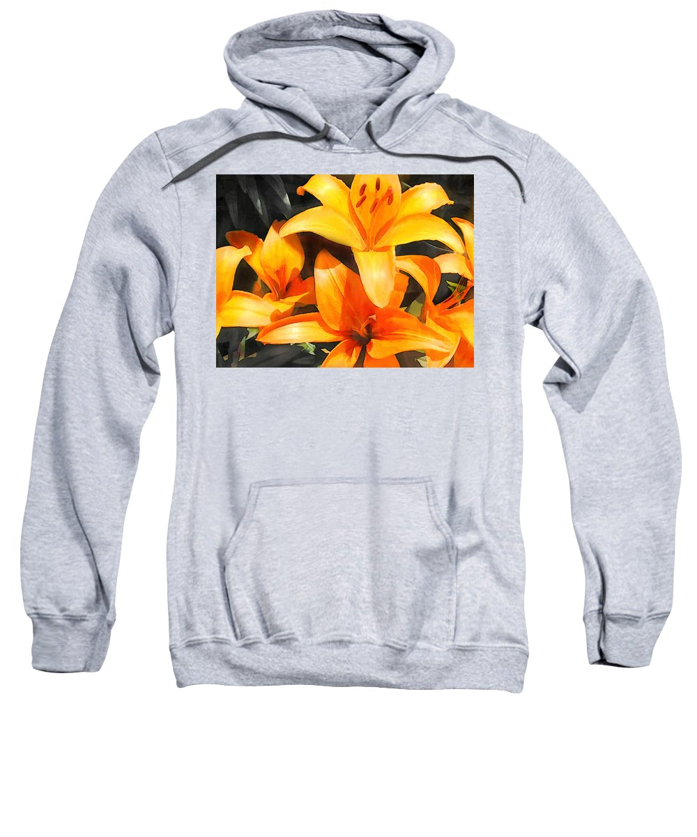 Flower Flowers Garden Lilies Lily Daylily Daylilies Orange Day+lily Day+lilies Flora Floral Nature Natural Sweatshirt featuring the painting Orange Lilies by Elaine Plesser