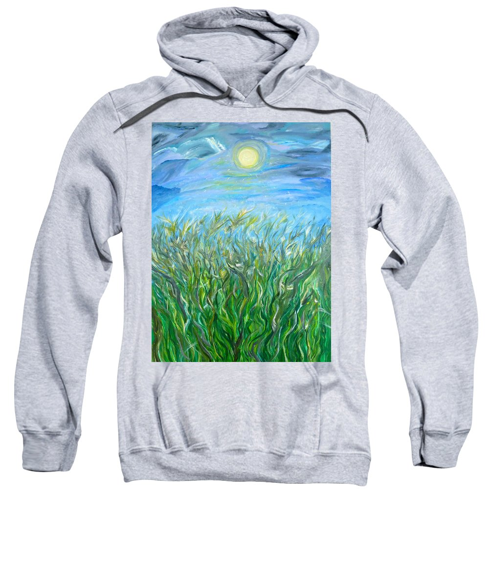 Whimsical Landscape Sweatshirt featuring the painting Organized Shine by Sara Credito