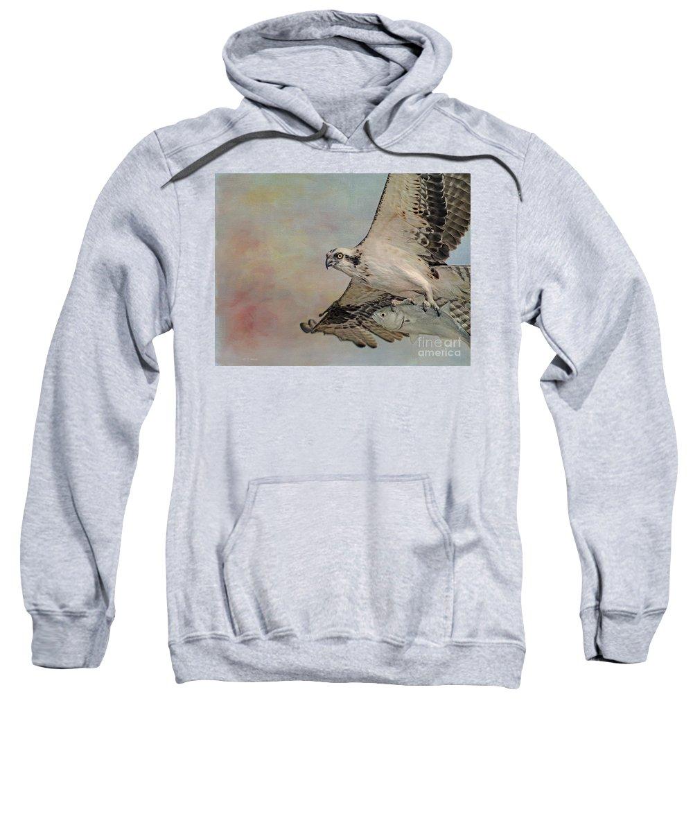 Osprey Sweatshirt featuring the photograph Osprey And Fish by Deborah Benoit