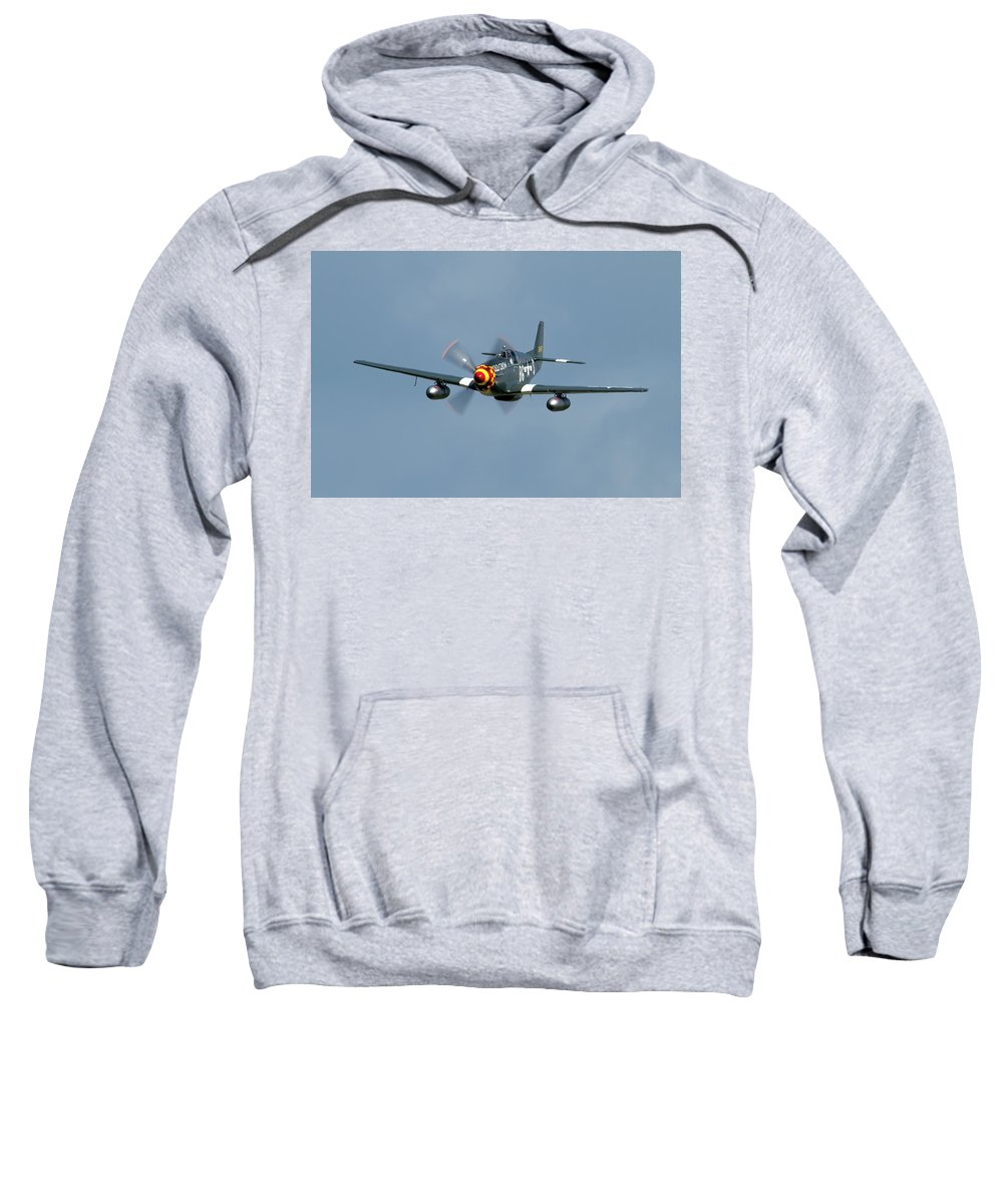 Airshows Sweatshirt featuring the photograph P-51 Mustang by Bill Lindsay