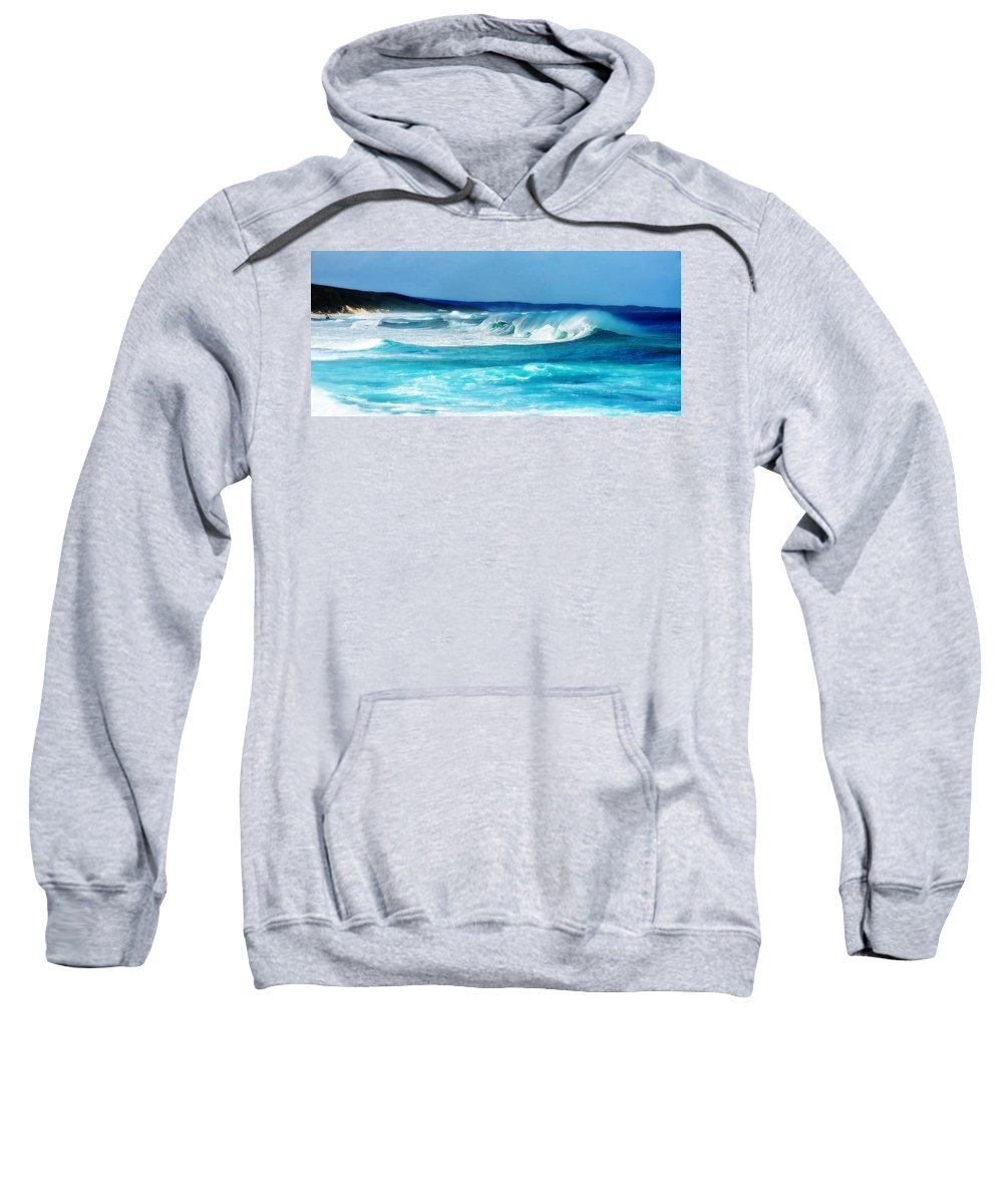 Landscape Sweatshirt featuring the digital art Painted Surfing Waves by Phill Petrovic