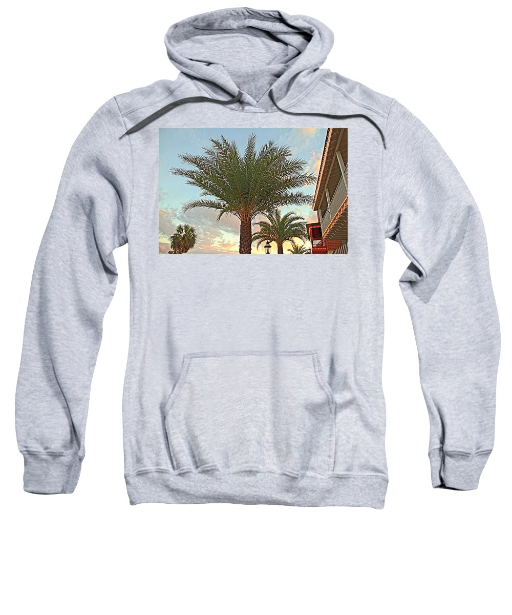 Palm Tree St Augustine Florida Clouds Scenic Sweatshirt featuring the photograph Palm On The Avenida by Alice Gipson
