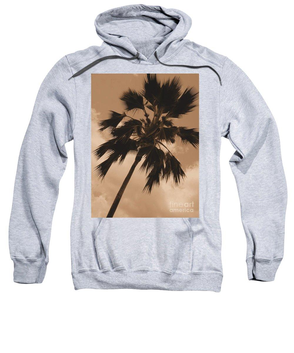 Sepia Sweatshirt featuring the photograph Palm Tree Leeward Oahu by Mark Gilman