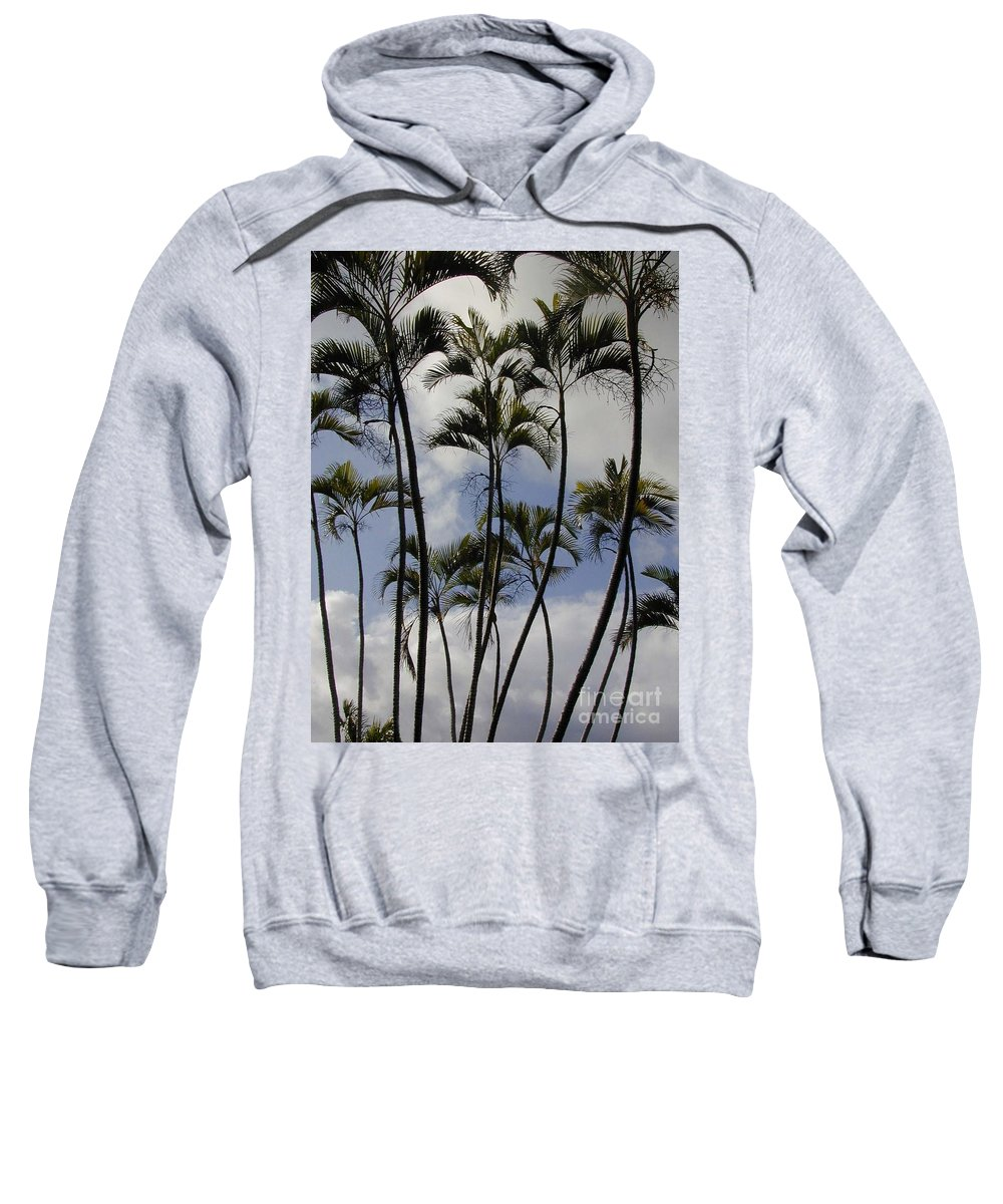Sweatshirt featuring the photograph Palm Trees Oahu by Mark Gilman