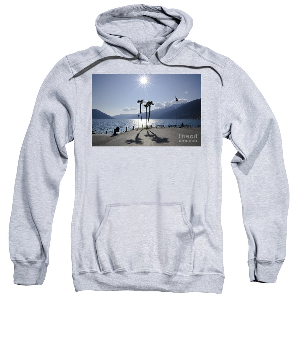Palm Trees Sweatshirt featuring the photograph Palm Trees With Shadows On The Lakefront by Mats Silvan