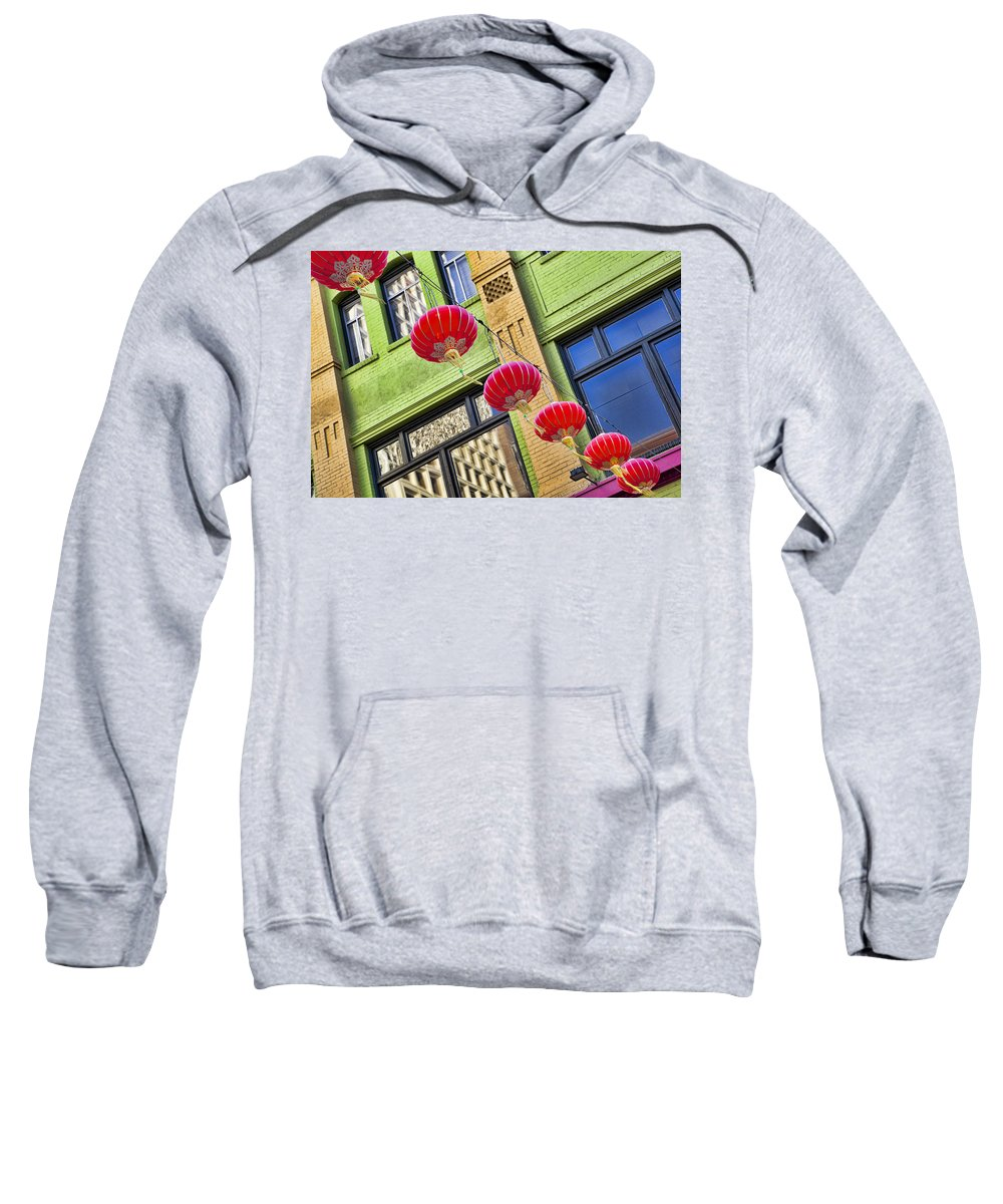 Chinatown Sweatshirt featuring the photograph Paper Lanterns by Kelley King