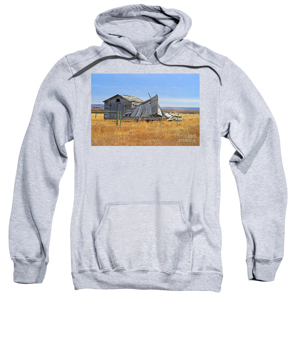 Old Barn Sweatshirt featuring the photograph Partial Fallen Barn by Randy Harris