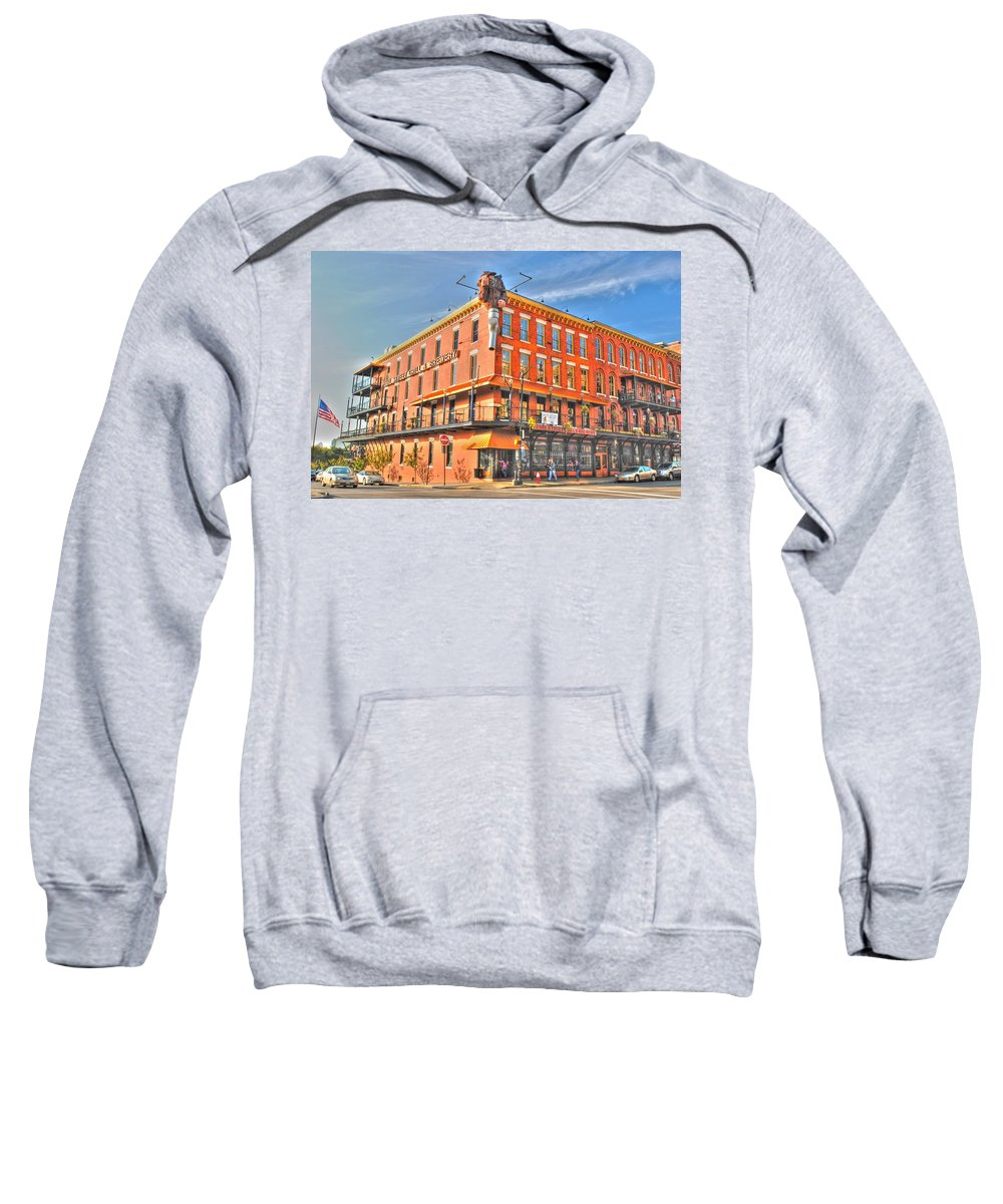 Sweatshirt featuring the photograph Pearl St Brewery by Michael Frank Jr