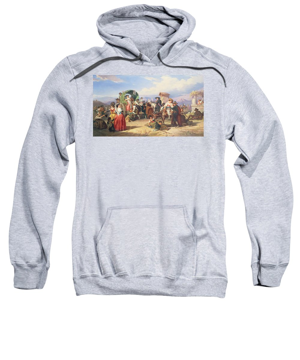 Peasants Of The Campagna Sweatshirt featuring the painting Peasants Of The Campagna by Robert Alexander Hillingford