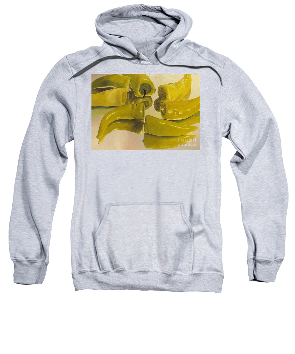 Oil Sweatshirt featuring the painting Peppers by Robert Bowden
