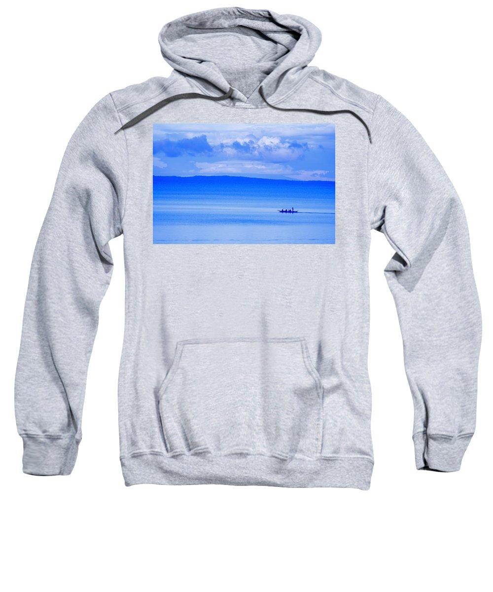 Blue Sweatshirt featuring the photograph Philippine Sea Sunrise by Valerie Rosen