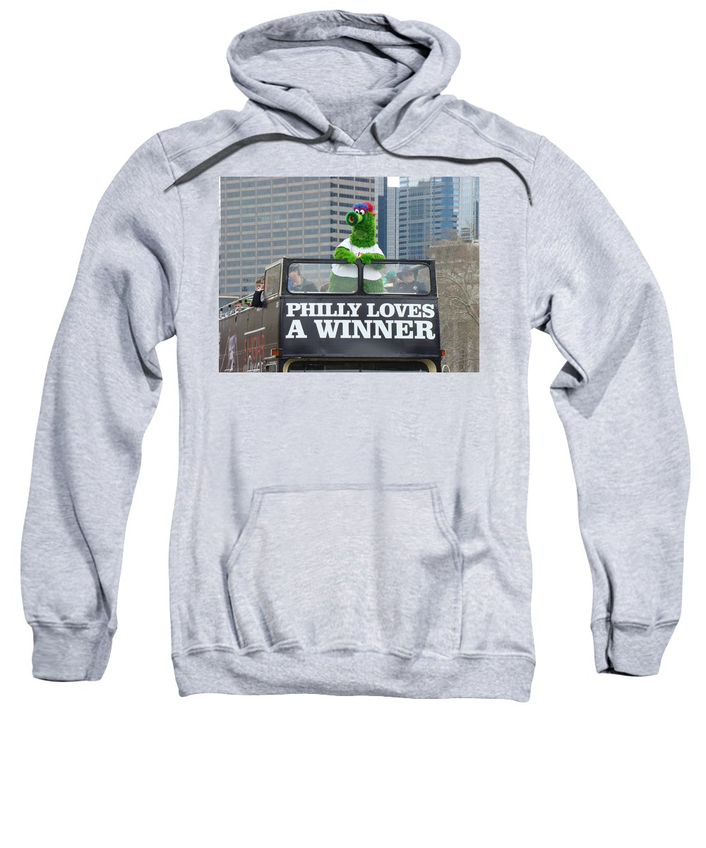 Philly Loves A Winner Bus Parade Phanatic Green City Philadelphia Sweatshirt featuring the photograph Philly Loves A Winner by Alice Gipson