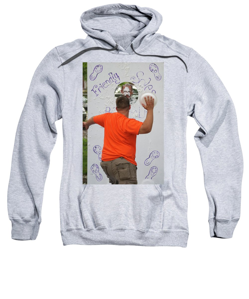 Pie Tossing Sweatshirt featuring the photograph Pie Tossing 01 by Thomas Woolworth