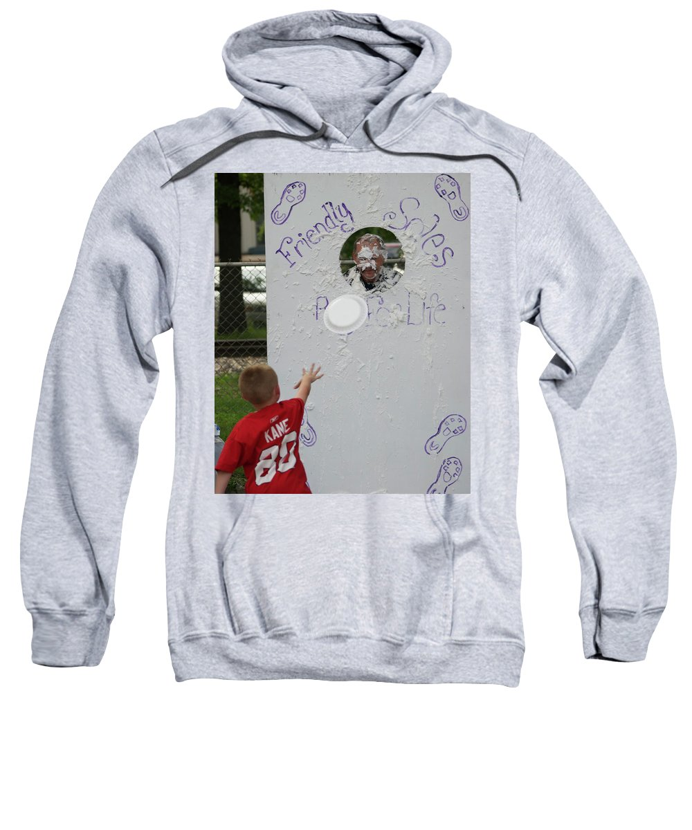Pie Tossing Sweatshirt featuring the photograph Pie Tossing 02 by Thomas Woolworth