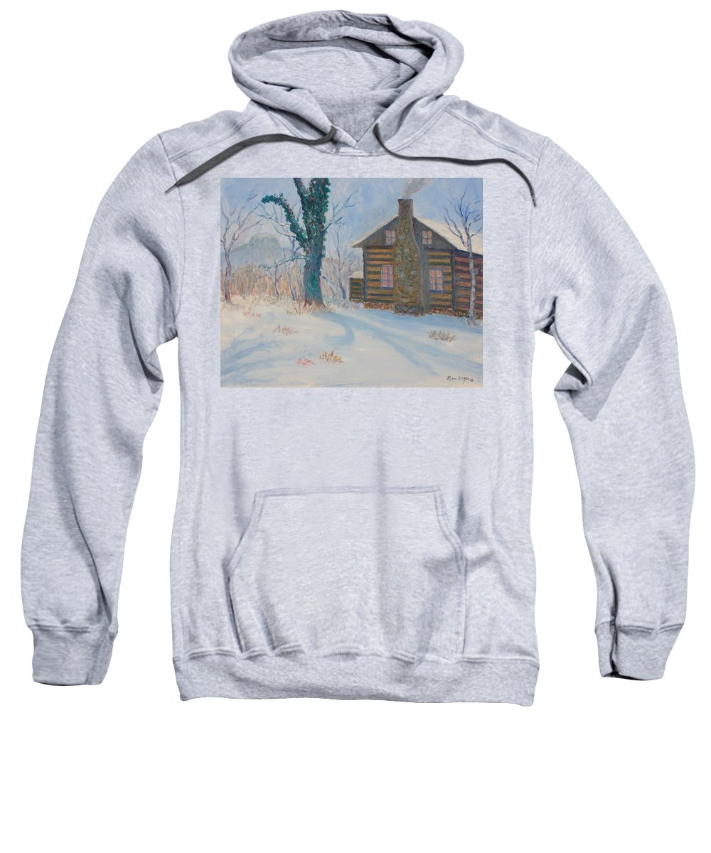 Pilot Mountain Sweatshirt featuring the painting Pilot Mountain Lodge by Ben Kiger