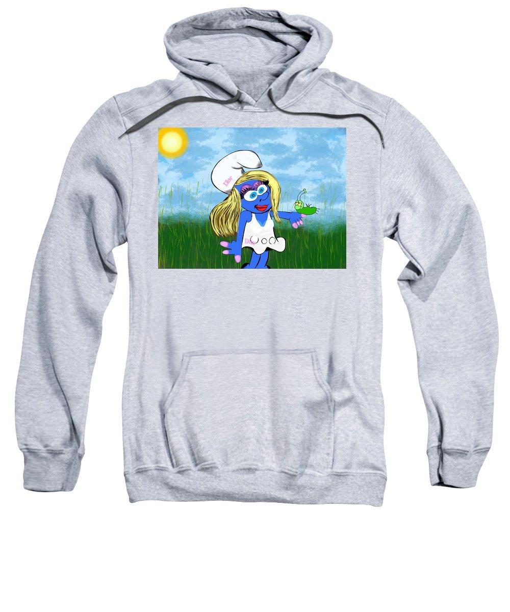Sweatshirt featuring the digital art Pimp My Smurf by Mathieu Lalonde