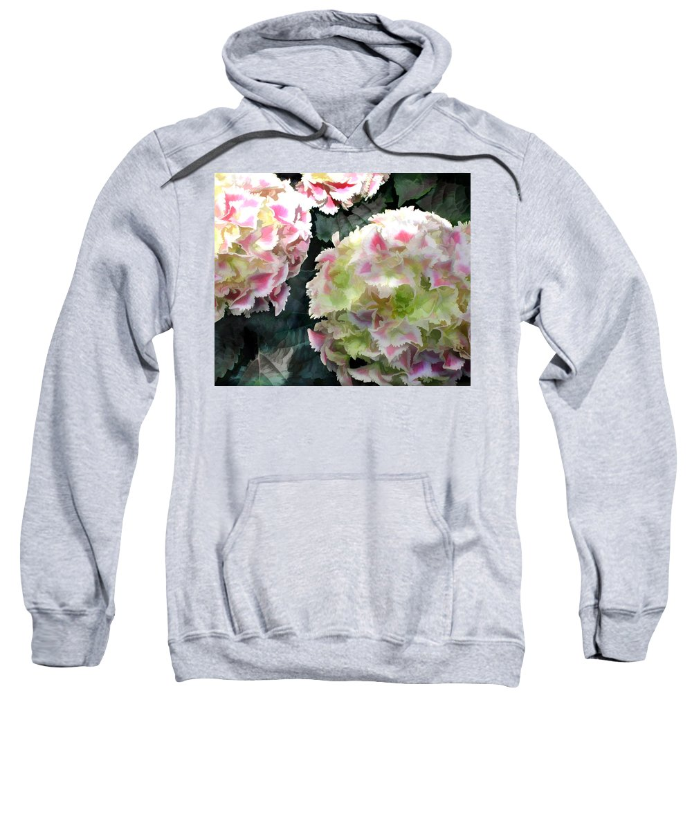Flower Flowers Garden Hydrangea Hydrangeas Pink Flora Floral Nature Natural Sweatshirt featuring the painting Pink Hydrangeas by Elaine Plesser
