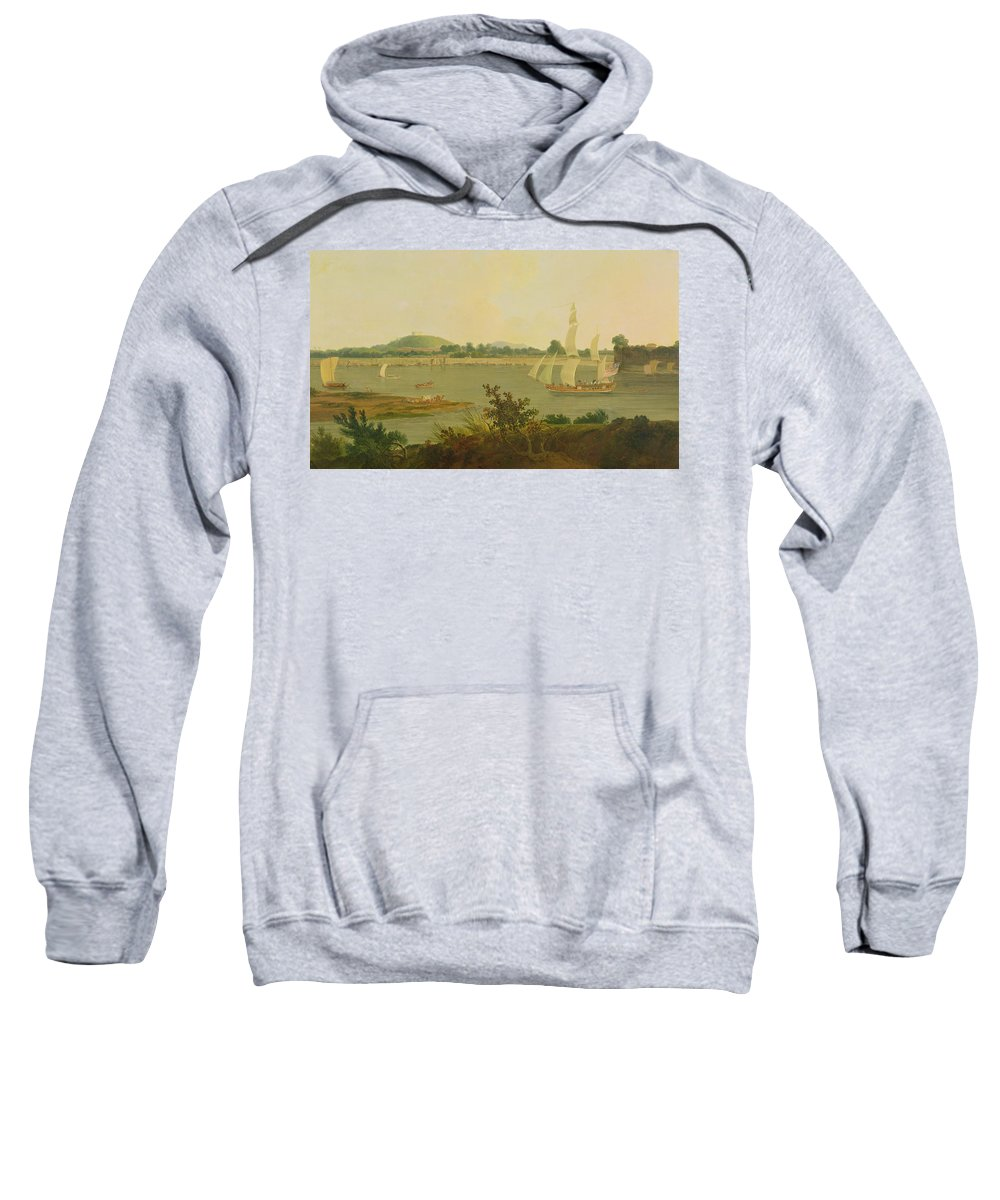 Pinnace Sailing Down The Ganges Past Monghyr Fort Sweatshirt featuring the painting Pinnace Sailing Down The Ganges Past Monghyr Fort by Thomas Daniell