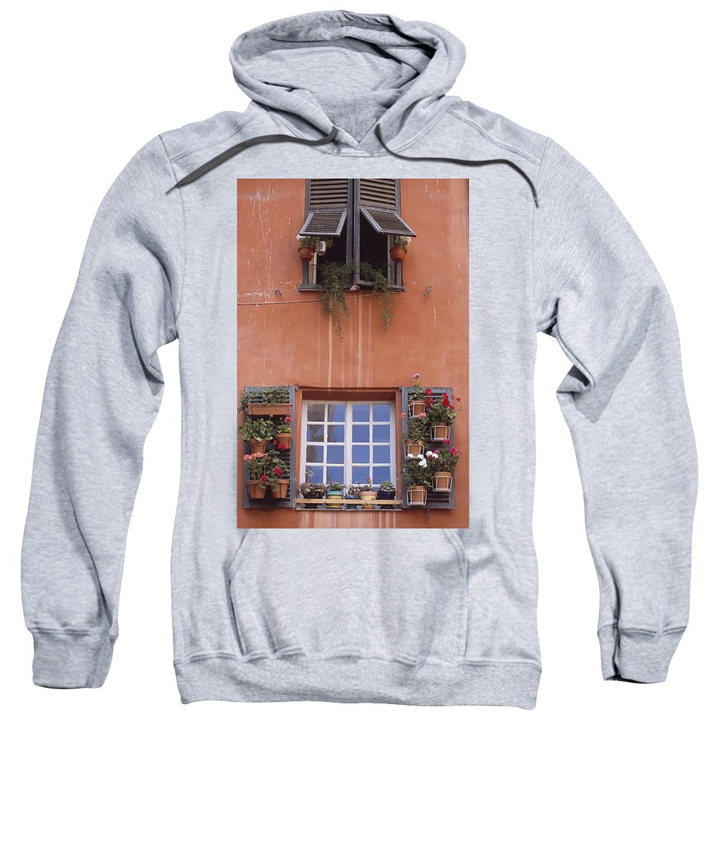 Photography Sweatshirt featuring the photograph Plants On Window Sill by Axiom Photographic