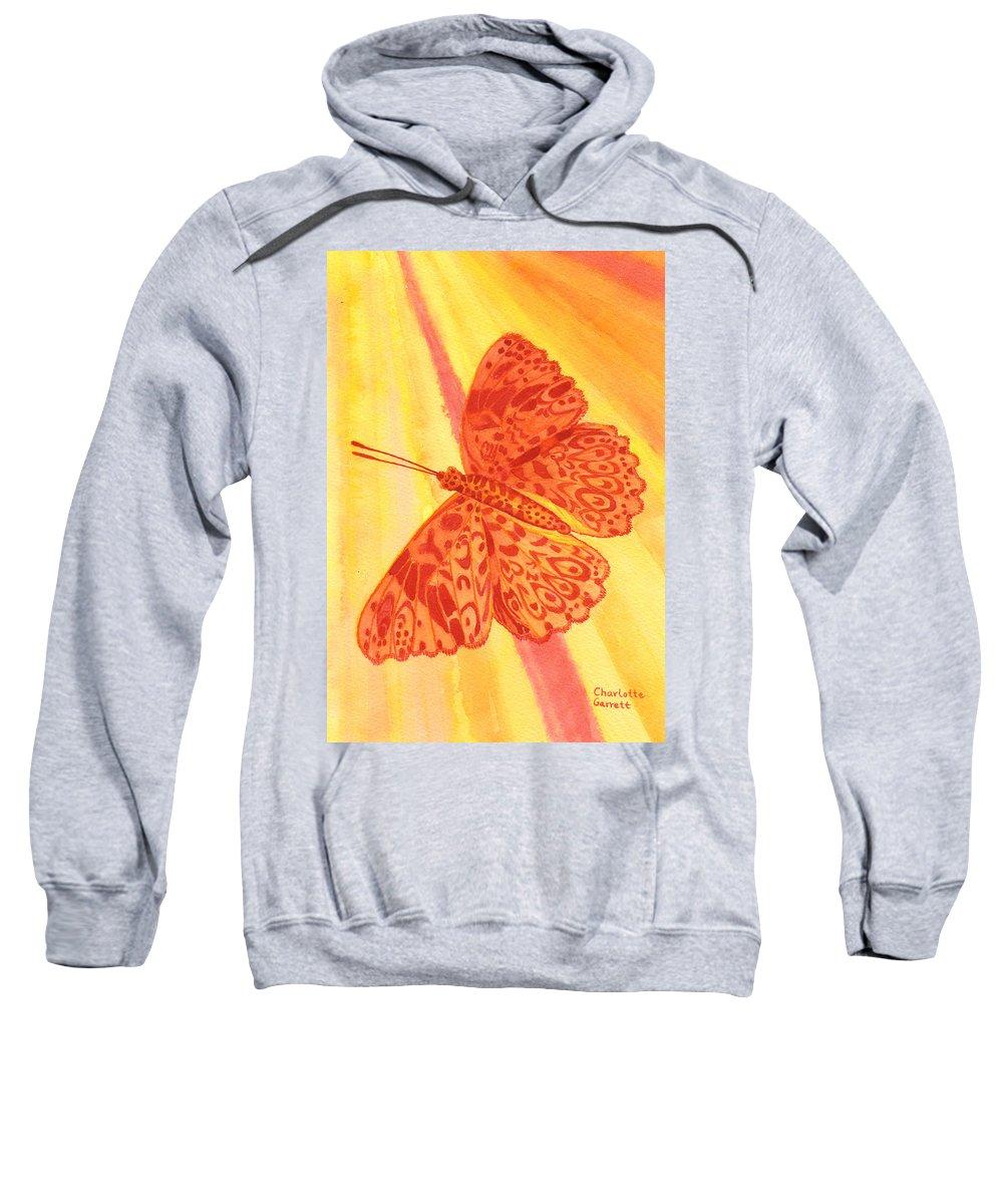 Butterfly Art Sweatshirt featuring the painting Pleasure Butterfly by Charlotte Garrett
