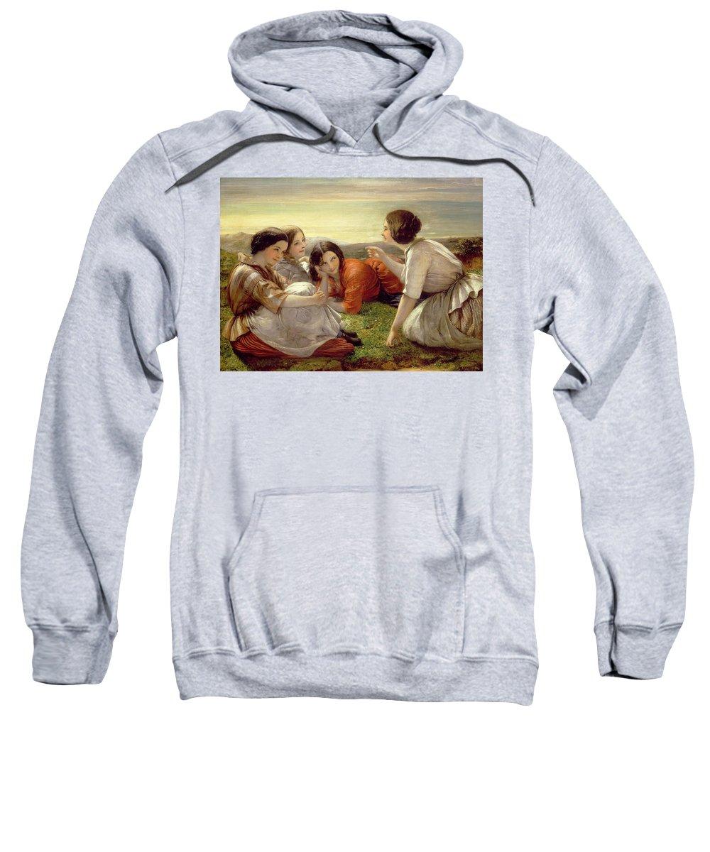 Plotting Mischief Sweatshirt featuring the painting Plotting Mischief by Frank Stone