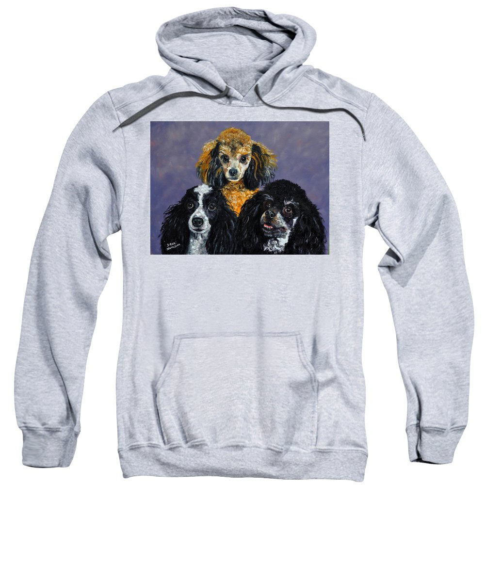 Poodles Sweatshirt featuring the painting Poodles by Stan Hamilton