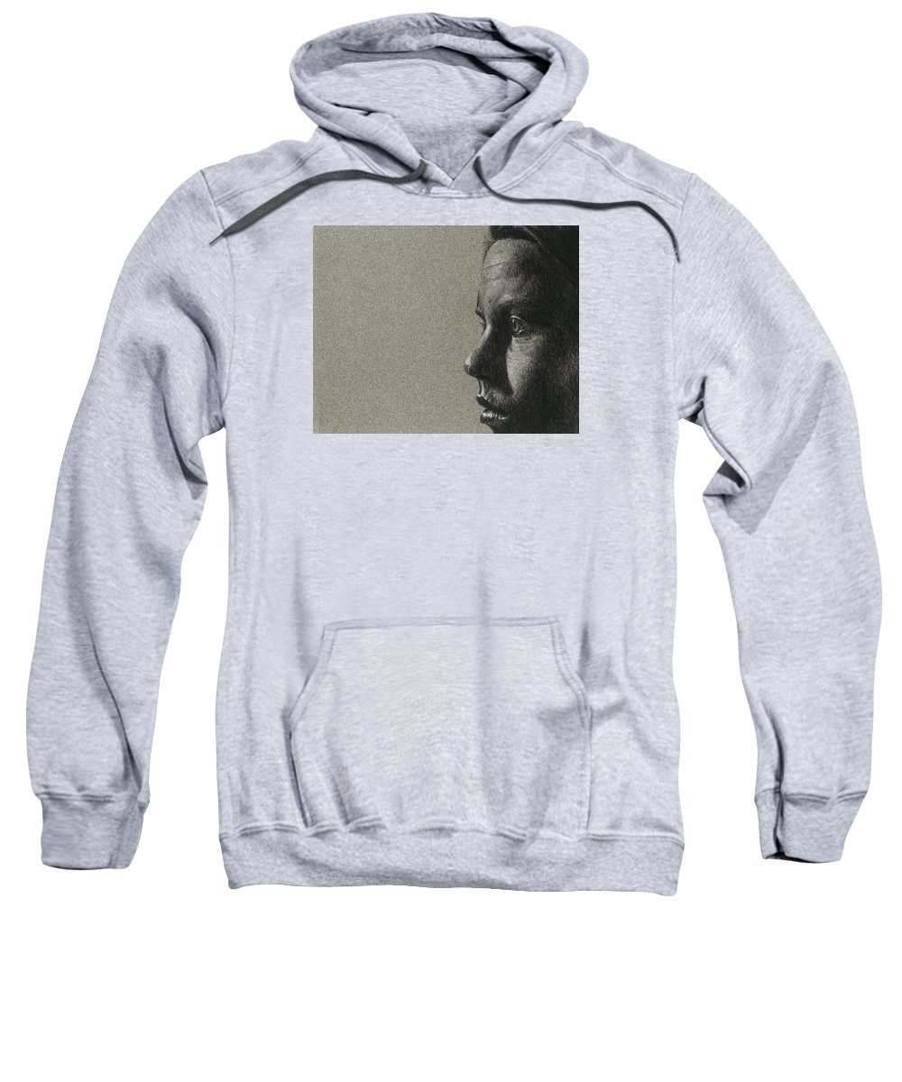 Charcoal Sweatshirt featuring the drawing Portrait Of S by David Kleinsasser