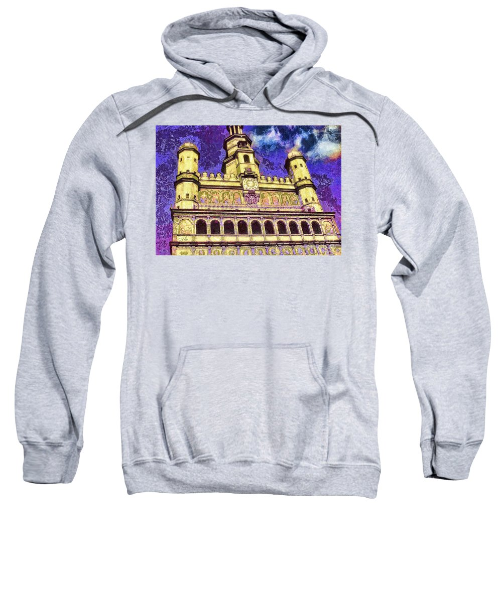 Poznan City Hall Sweatshirt featuring the mixed media Poznan City Hall by Mo T