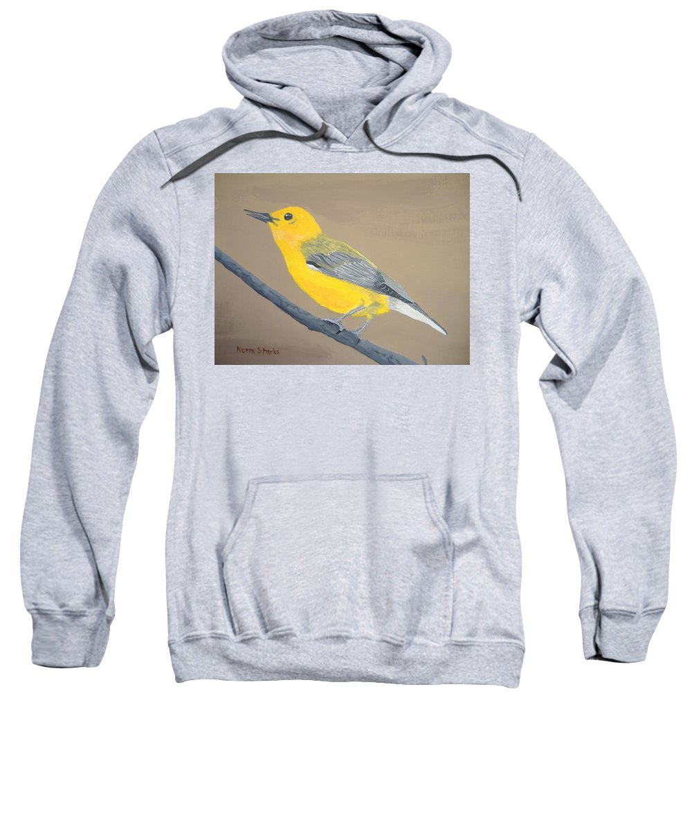 Songbird Sweatshirt featuring the painting Prothonotary Warbler by Norm Starks