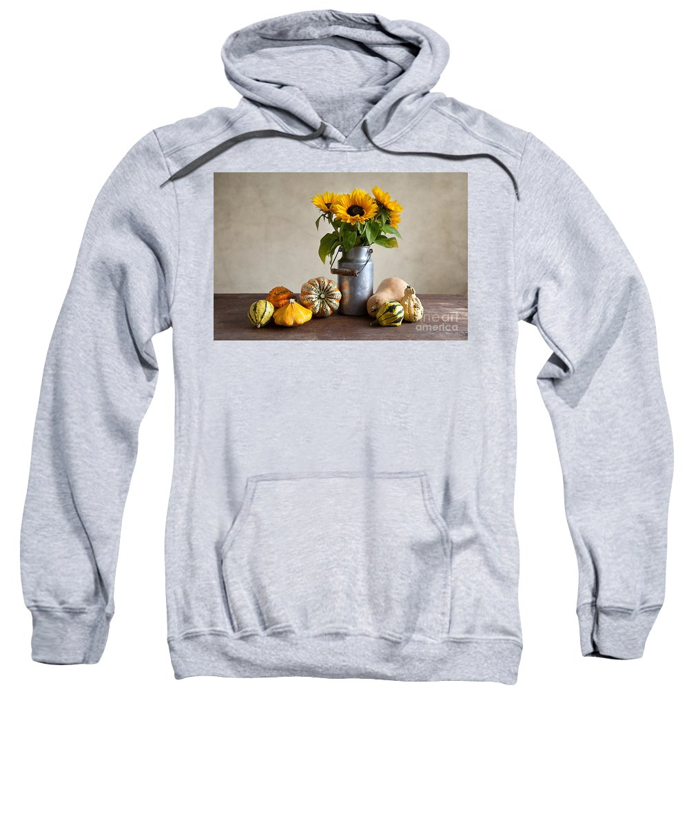 Autumn Sweatshirt featuring the photograph Pumpkins And Sunflowers by Nailia Schwarz