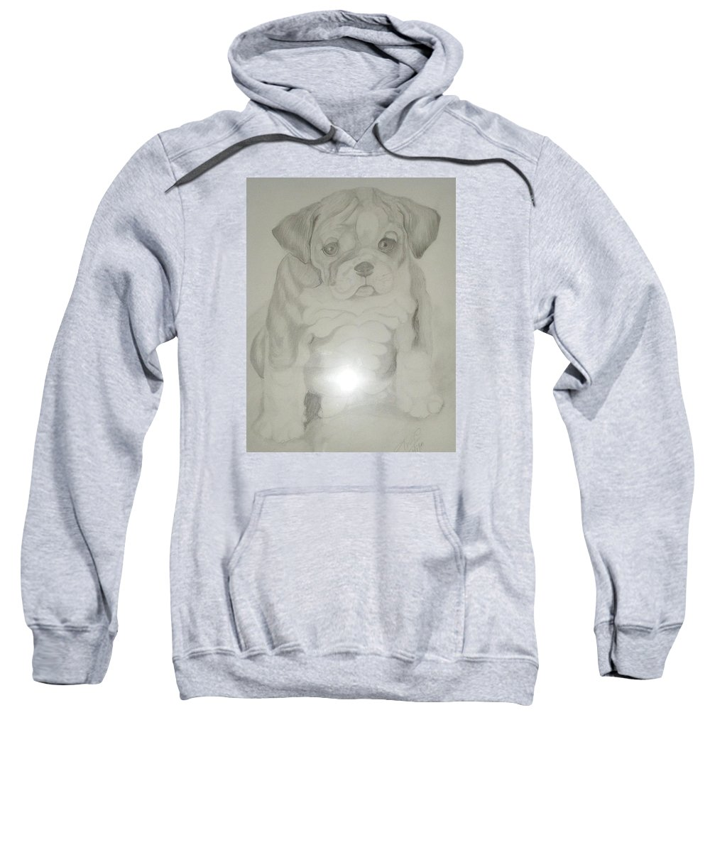Puppy Sweatshirt featuring the drawing Puppy by Patricia Milla
