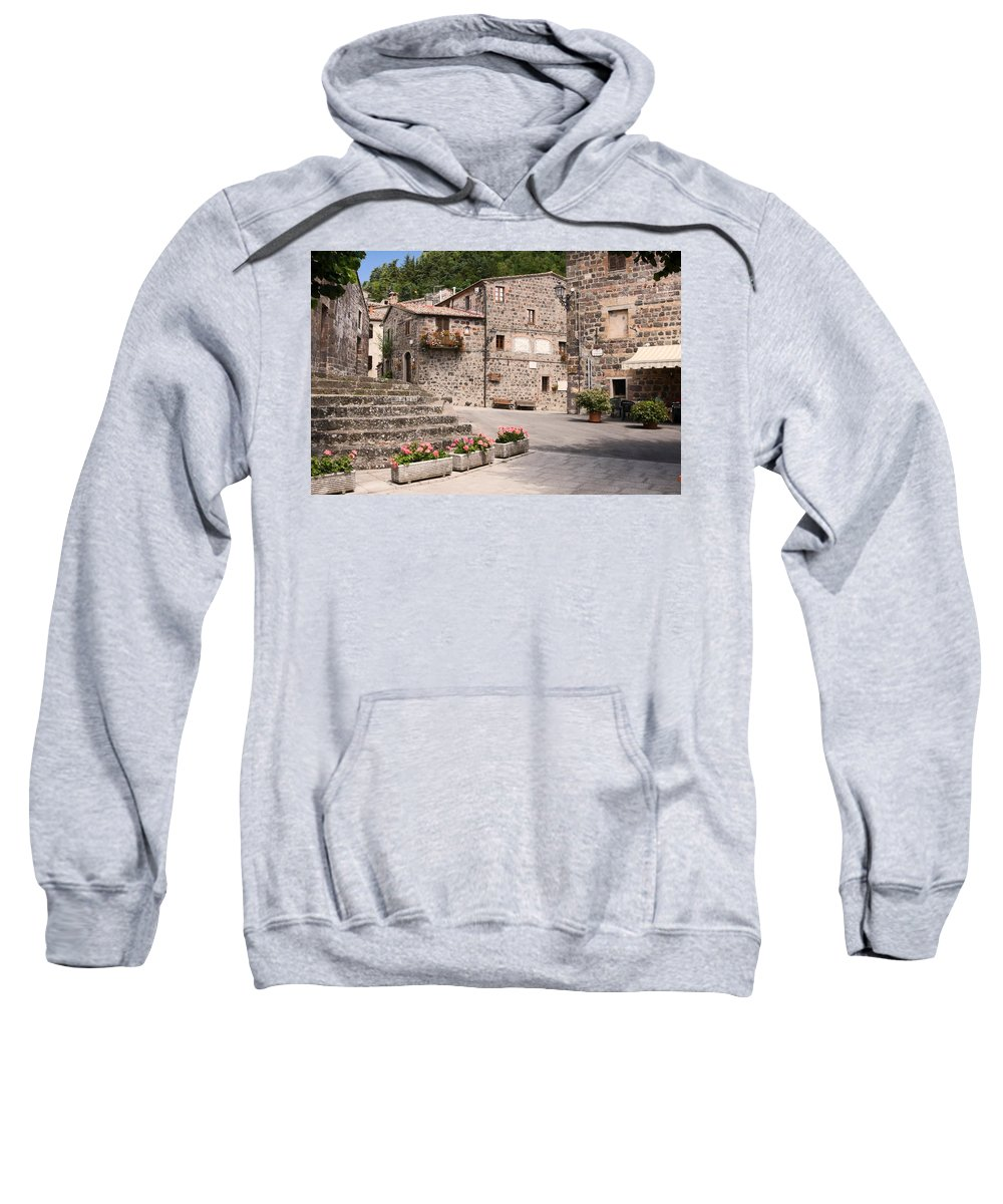 Street Scene Sweatshirt featuring the photograph Radicofani Italy Street Scene by Sally Weigand