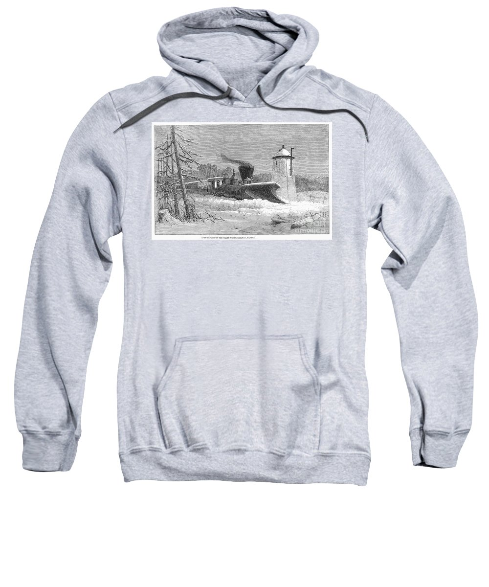 1862 Sweatshirt featuring the photograph Railway Snow Plough, 1862 by Granger