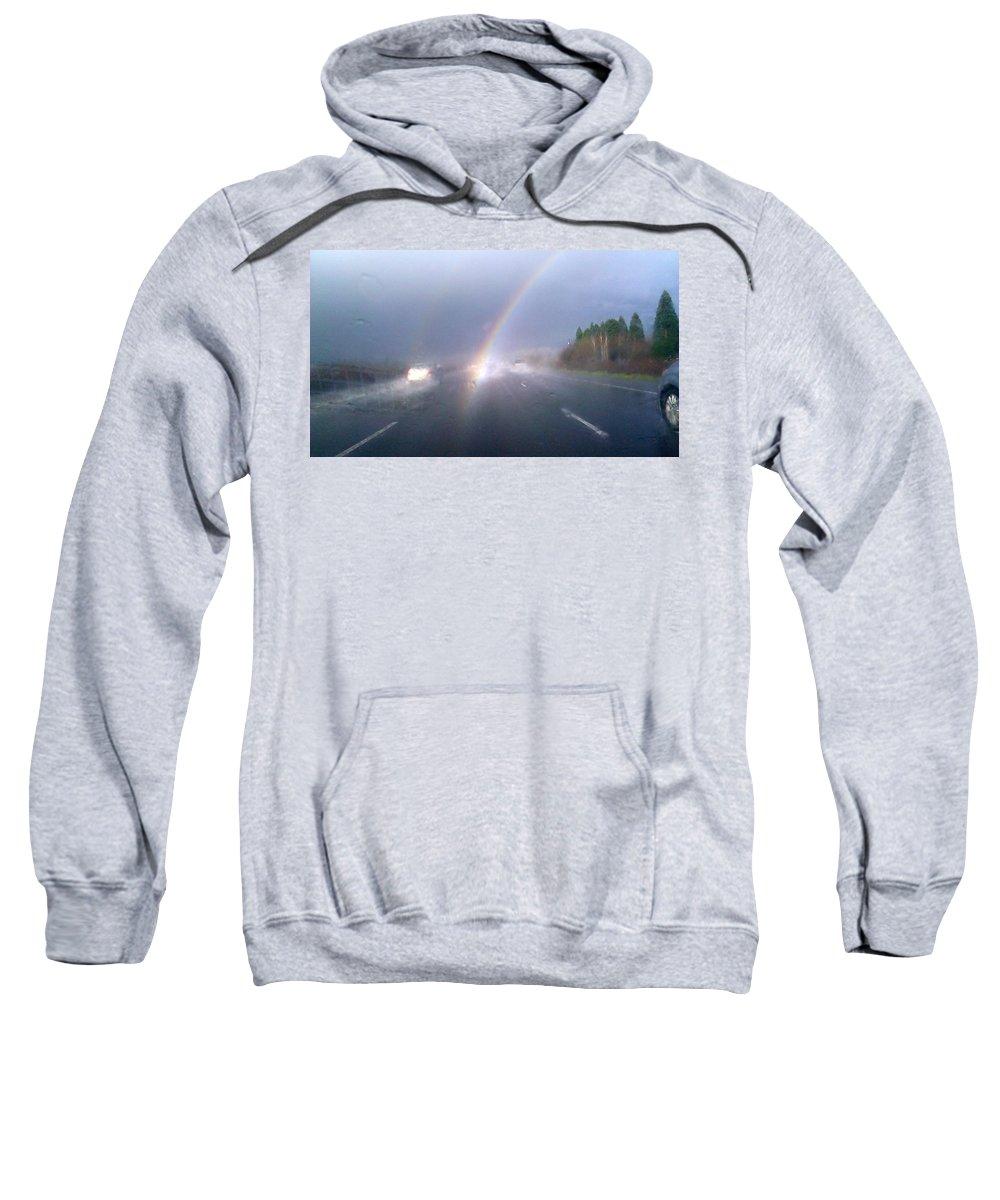Sweatshirt featuring the photograph Rainbow 4 by Linda Hutchins