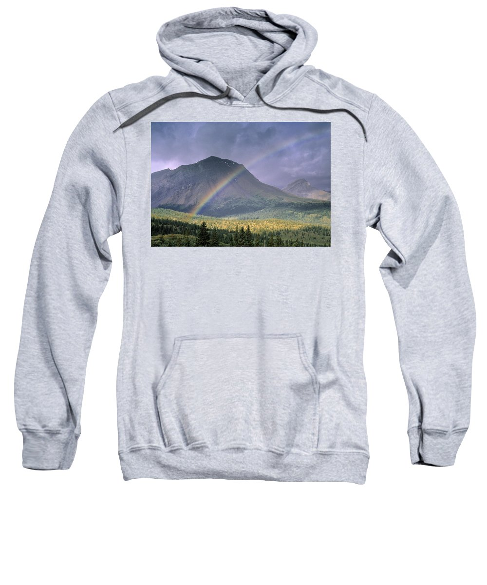 Light Sweatshirt featuring the photograph Rainbow Over Willmore Wilderness Park by Darwin Wiggett