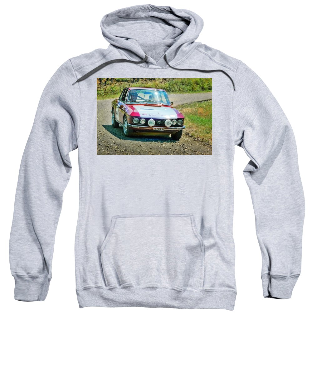 Car Sweatshirt featuring the photograph Red And White Lancia by Alain De Maximy