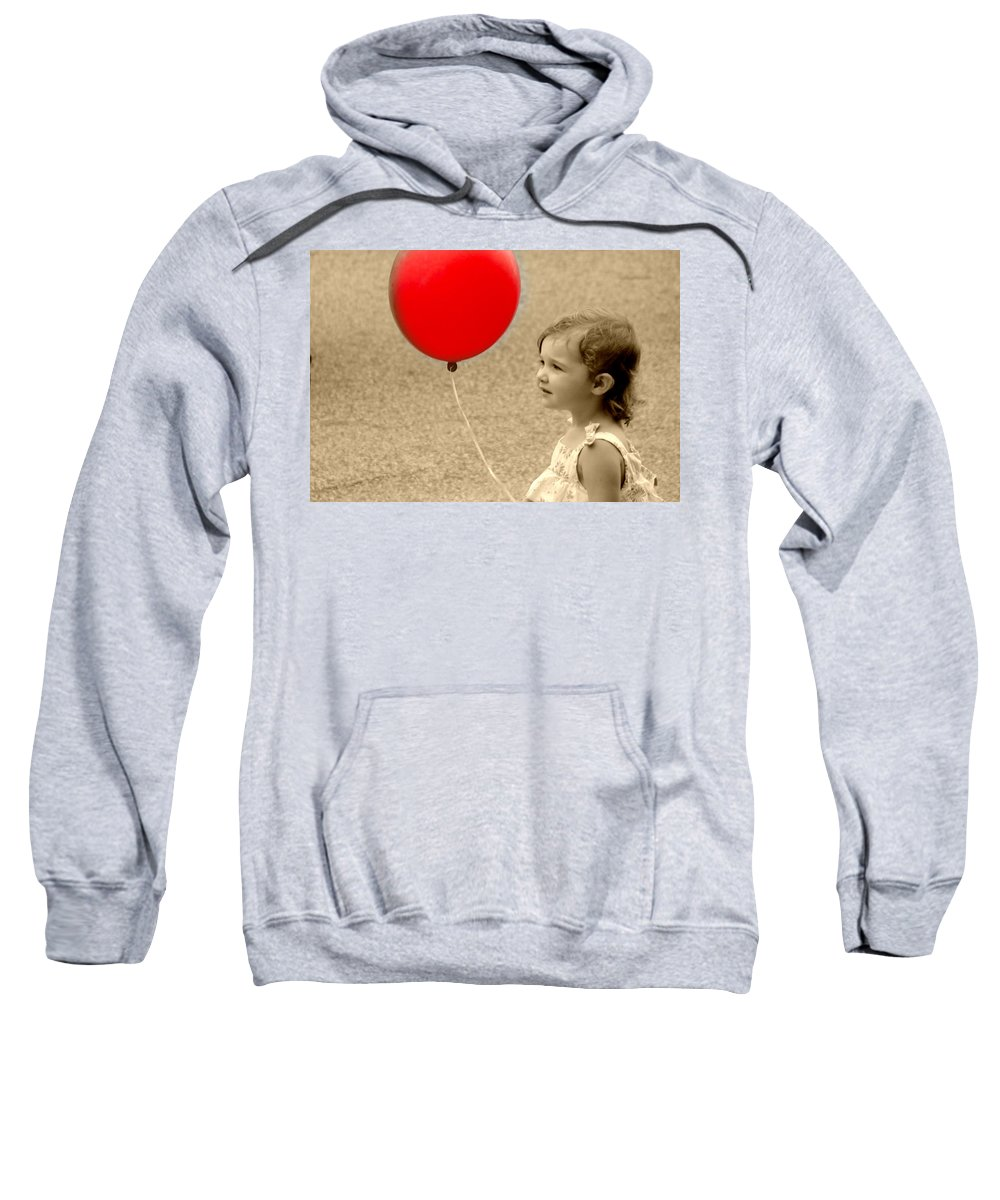 Red Baloon Little Girl Child Sweatshirt featuring the photograph Red Baloon by Alice Gipson
