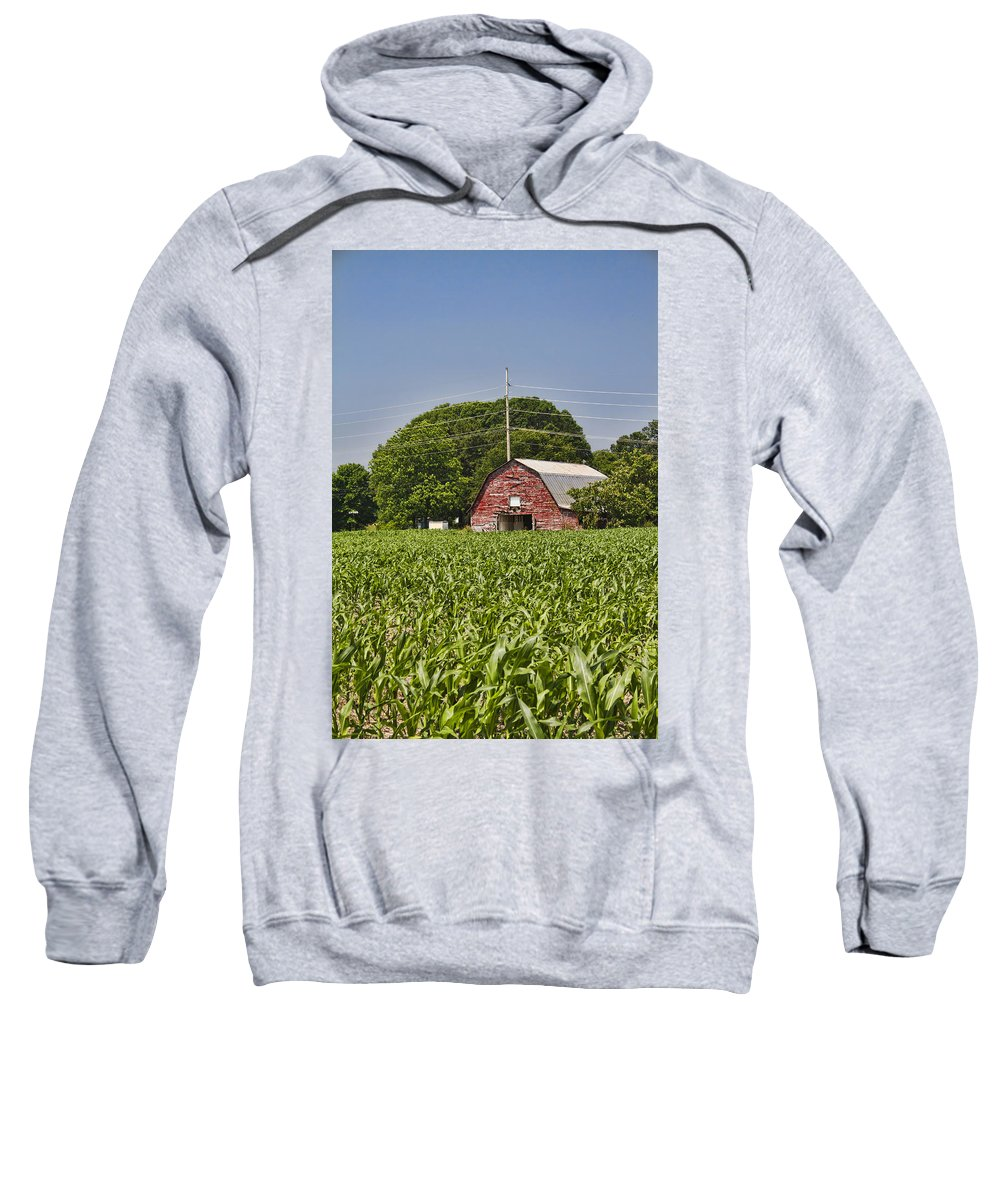 Red Sweatshirt featuring the photograph Red Barn - What Charm by Kathy Clark