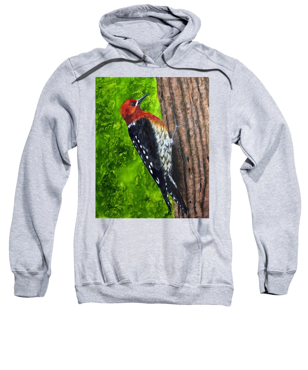 Red Breasted Sapsucker Sweatshirt featuring the painting Red Breasted Sapsucker by Dee Carpenter