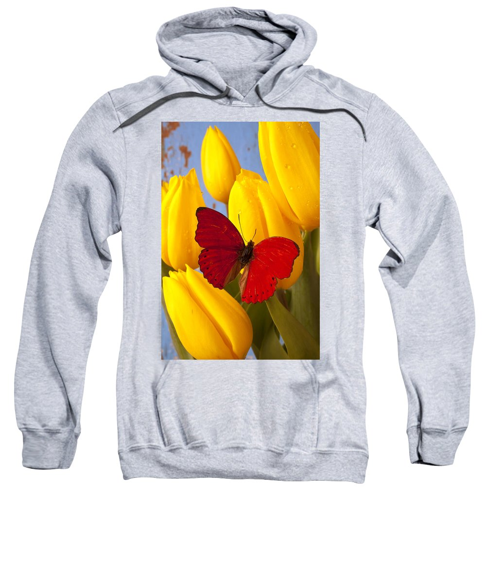 Red Sweatshirt featuring the photograph Red Butterful On Yellow Tulips by Garry Gay