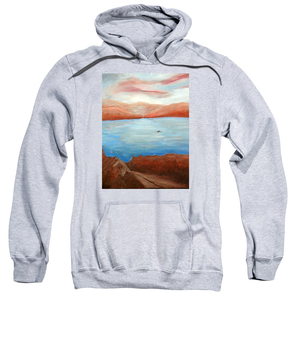 Landscape Sweatshirt featuring the painting Red Leaf In Lake Juliette by Lugenia Dixon