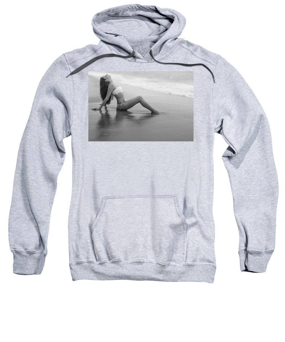 Female Sweatshirt featuring the photograph Reflections In Wet Sand by Rick Berk