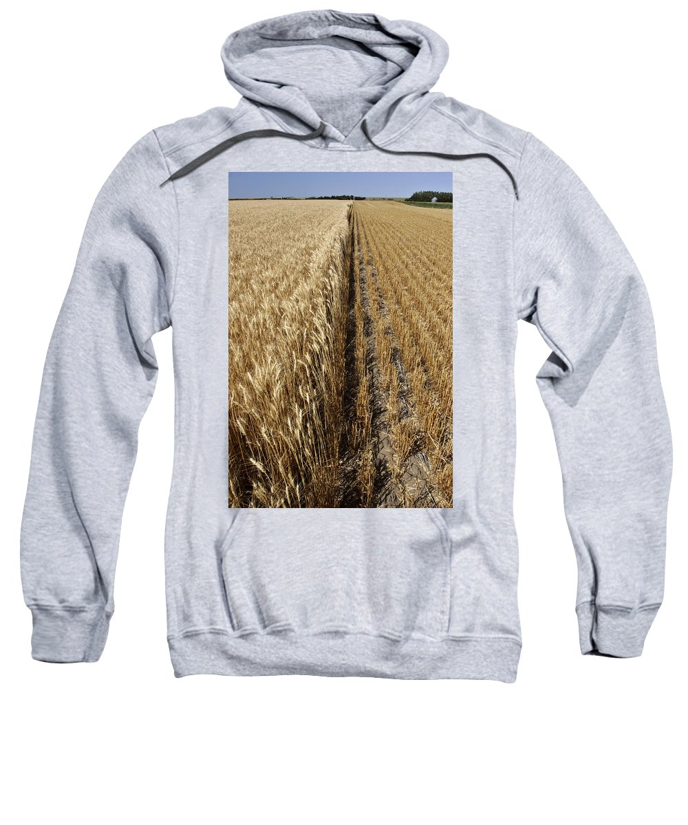 Sweatshirt featuring the photograph Ripened Wheat And Stubble In Saskatchewan Field by Mark Duffy