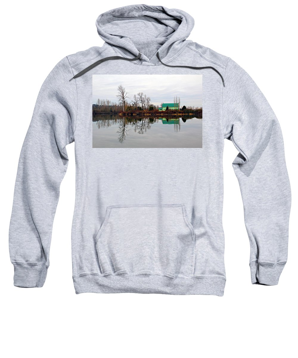 Agriculture Sweatshirt featuring the photograph River Reflections by Paul Fell