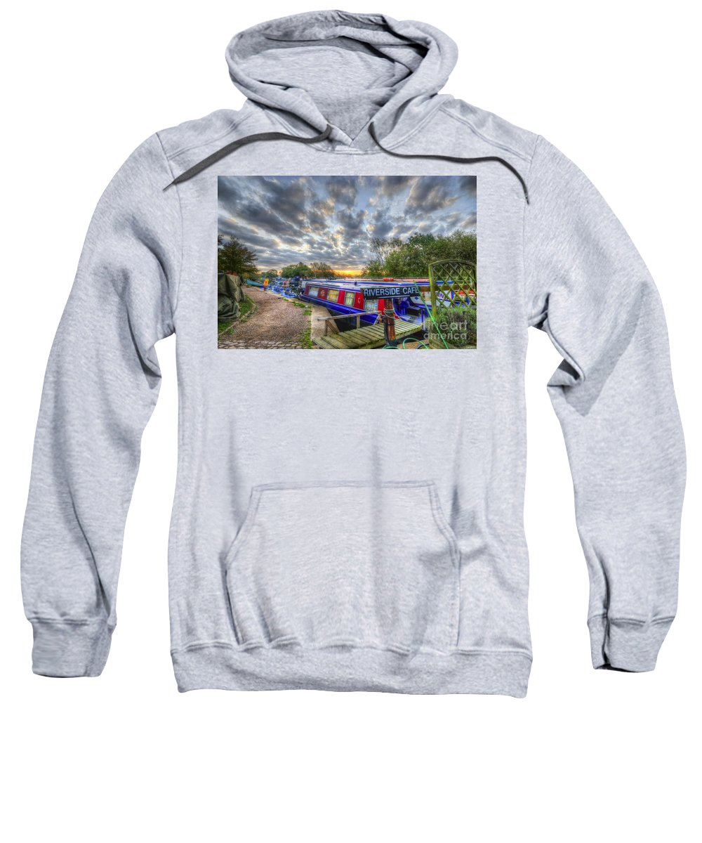 Hdr Sweatshirt featuring the photograph Riverside Cafe by Yhun Suarez
